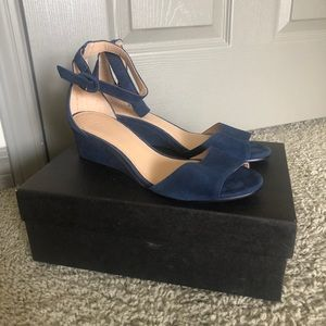 Jcrew Laila Suede Wedges Navy Size 8